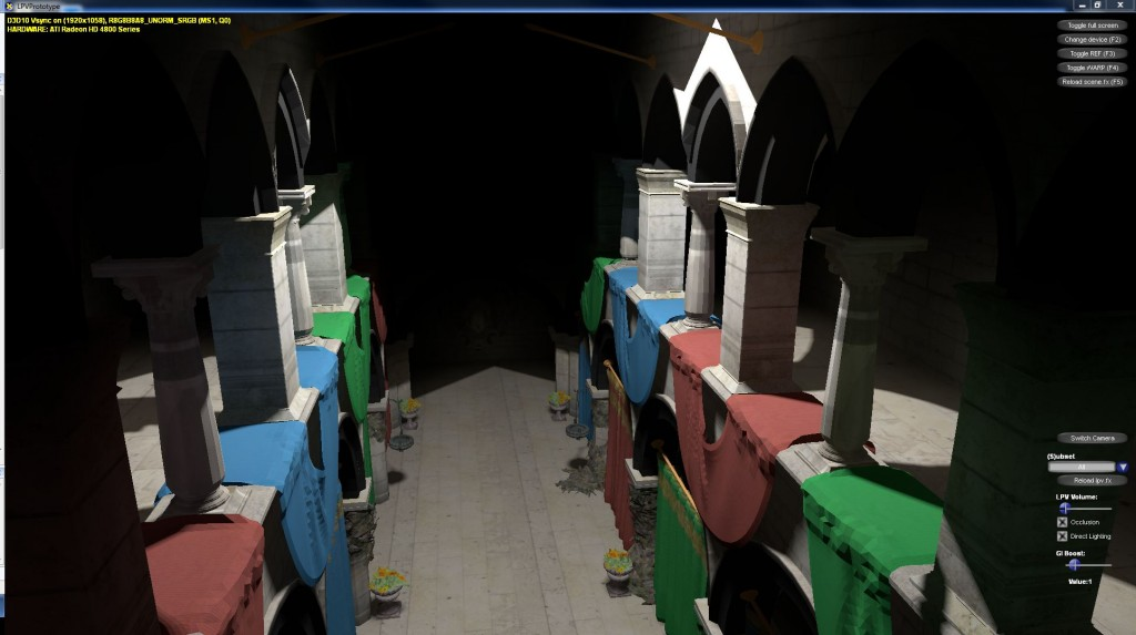 Sponza scene (direct + indirect lighting w/ occlusion)