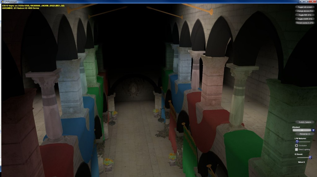 Sponza scene (boosted indirect lighting w/ occlusion)