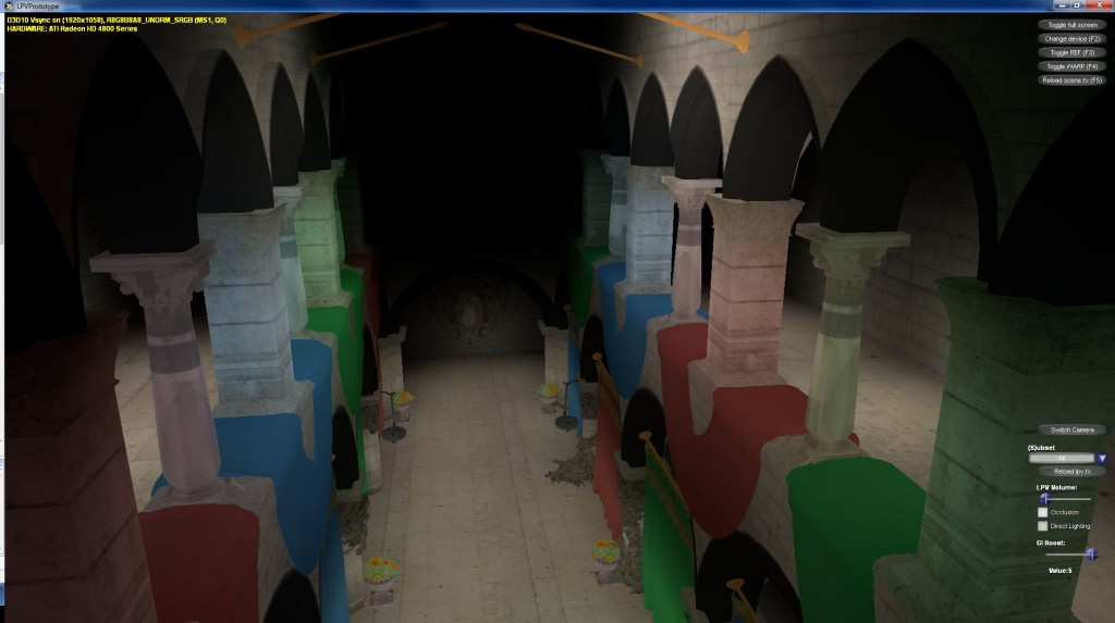 Sponza scene (boosted indirect lighting w/o occlusion)